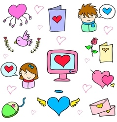 Art of love object doodles vector