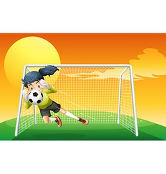 A female soccer player catching the ball vector