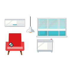 Room with armchair and window vector