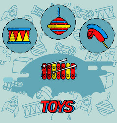 Toys flat concept icons vector