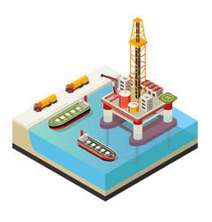 Isometric water oil platform concept vector
