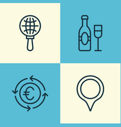 Tourism icons set collection of wine currency vector