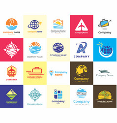 20 high quality travel agent holiday vacation logo vector image
