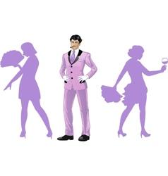 Attractive asian man with corps de ballet dancers vector image