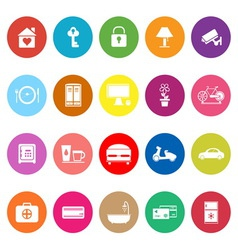 General home stay flat icons on white background vector