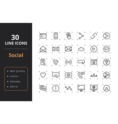 30 social line icons vector image vector image