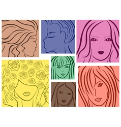 Set of seven colored women portrait vector