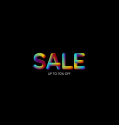 3d iridescent gradient sale sign vector image vector image