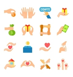 Donate and giving icon set vector