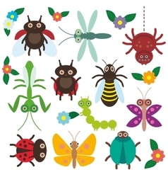 Funny insects set spider butterfly caterpillar vector