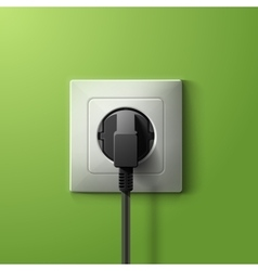 Realistic electric plastic white socket and black vector