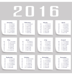Calendar for 2016  week starts monday vector