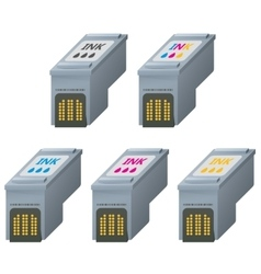 Cmyk ink cartridges in isometric vector