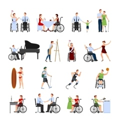 Disabled people flat icons set vector
