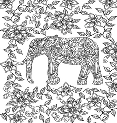 Elephant coloring page vector