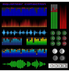 Equalizers and software buttons vector