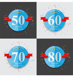 Happy anniversary celebration on folded paper sign vector