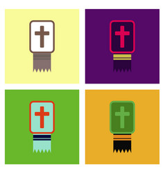 Assembly flat icons bible book vector