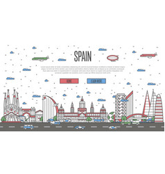 Barcelona skyline with national famous landmarks vector