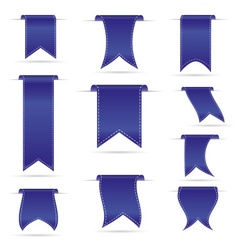 blue hanging curved ribbon banners set eps10 vector image