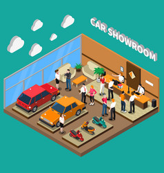 Car showroom isometric vector
