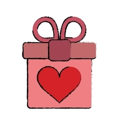 carton pink gift box with heart and bow vector image vector image