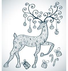 Christmas deer ornament vector image