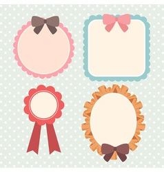 cute pastel ribbon and lace label or banner or vector image vector image