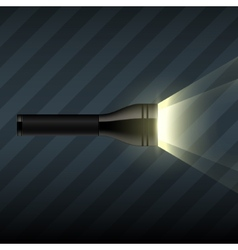 Flashlight on dark striped background vector