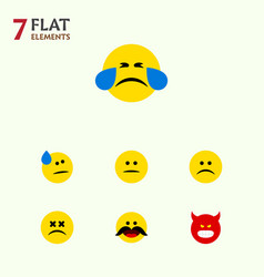 Flat icon gesture set of tears cross-eyed face vector