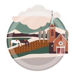 Flat style of europe village or vector
