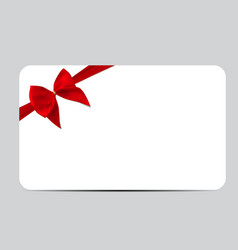 Gift card template with red silk ribbon and bow vector