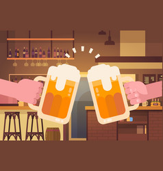 hands clinking beer people in pub or bar vector image vector image