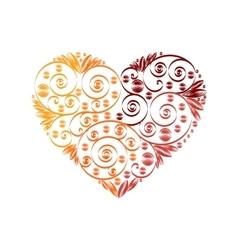 Happy valentine day heart decor red orange vector
