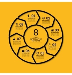 Infographic circle template with 8 steps vector image vector image