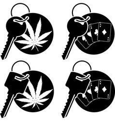 keys of cannabis and casino vector image