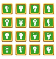 Lamp logo icons set green vector
