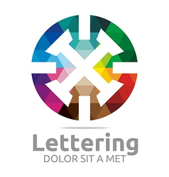 Lettering x rainbow alphabet design vector