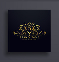 luxury logo concept design with letter s vector image vector image