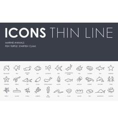 Marine animals thin line icons vector