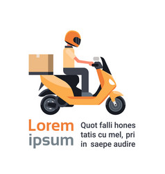 motorcycle delivery service man courier riding vector image vector image