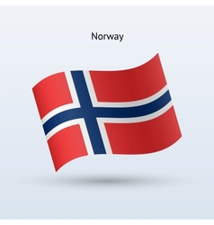 Norway flag waving form vector