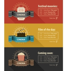 Retro cinema banners posters vector image vector image