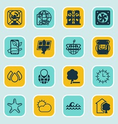 Set of 16 eco icons includes sun clock house vector