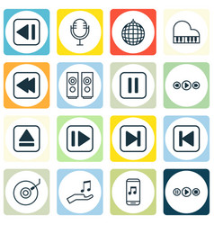 Set of 16 music icons includes dance club rewind vector