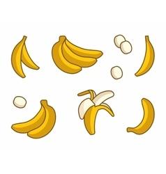 Set of cartoon yellow bananas on white vector