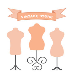 Set of mannequins manikins for tailors designers vector