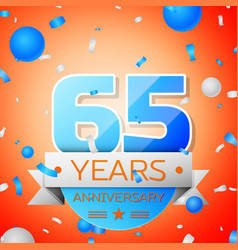 Sixty five years anniversary celebration vector