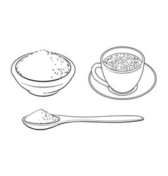 Sketch mathca tea set vector