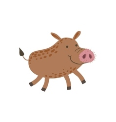 Smiling wild boar running vector